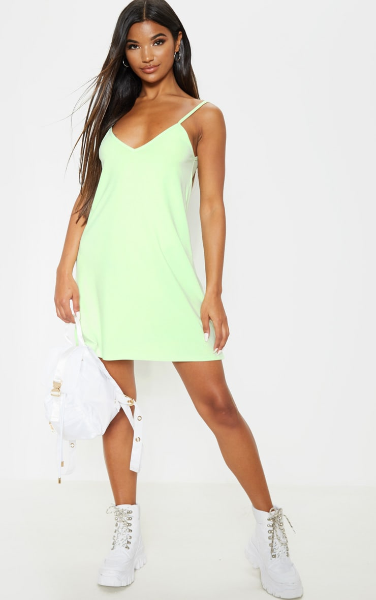 Pale Lime Strappy Detail Backless Cami Dress 4