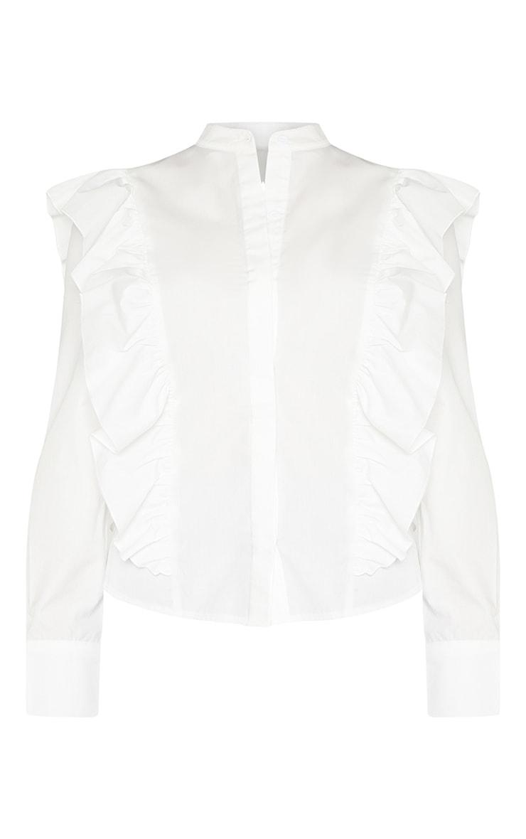 Petite White Frill Detail Long Sleeve Shirt  3