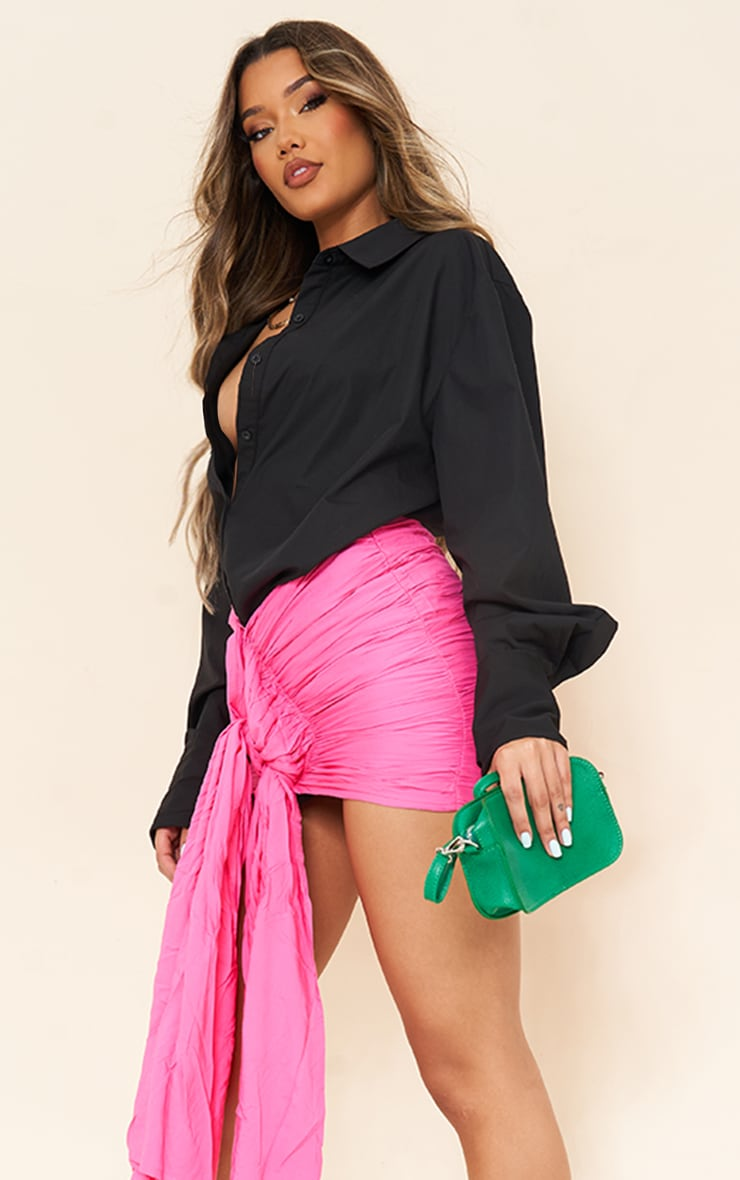 Hot pink Ruched Drape Front  Mini Skirt 4