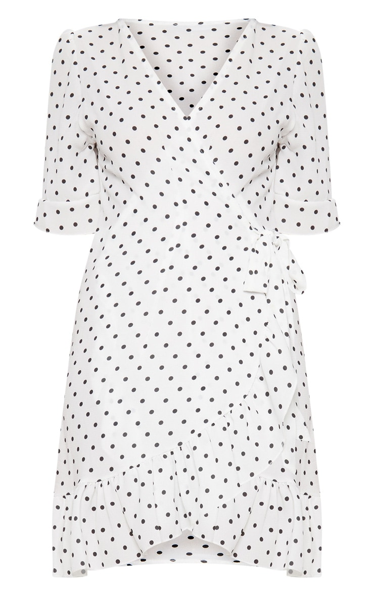White Polka Dot Wrap Over Dress 3
