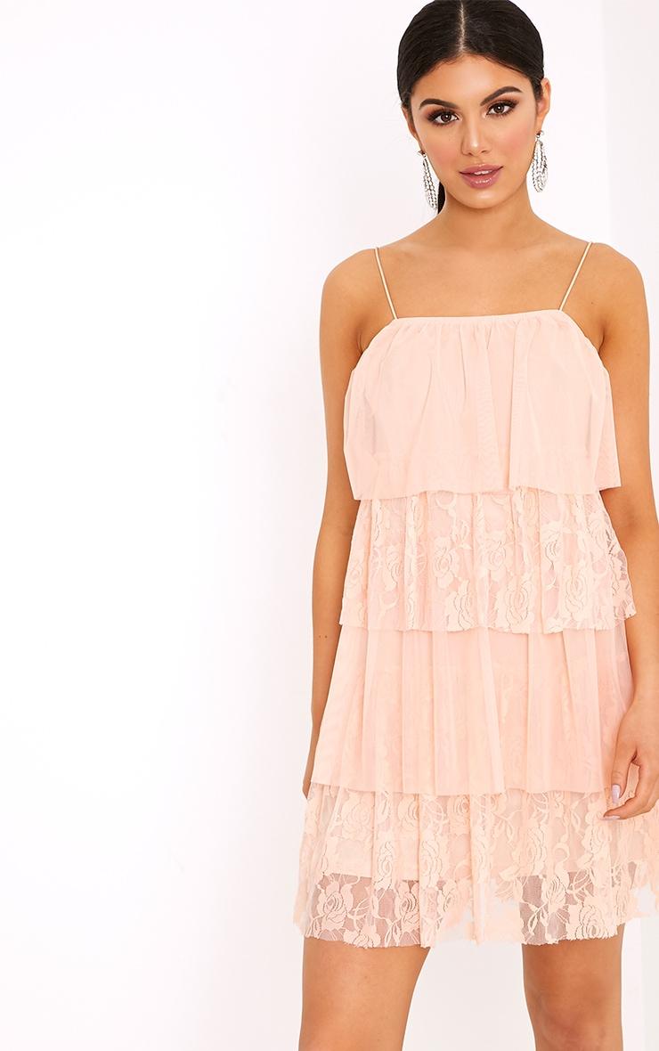 Sarsha Nude Chiffon Lace Frill Shift Dress  1
