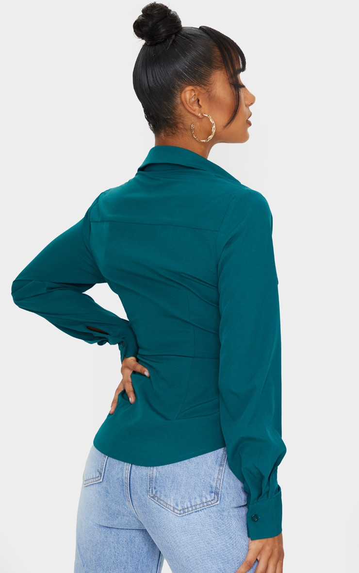 Teal Woven Tie Front Shirt 2