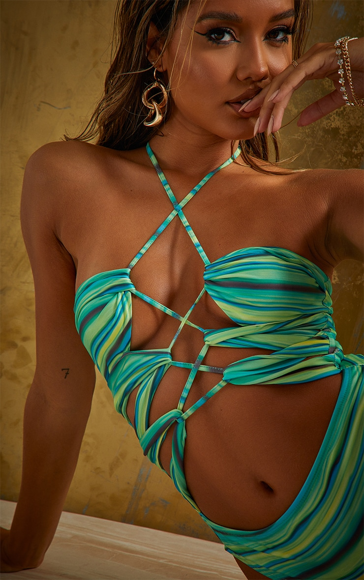 Green Abstract Stripe Lace Up Swimsuit 4