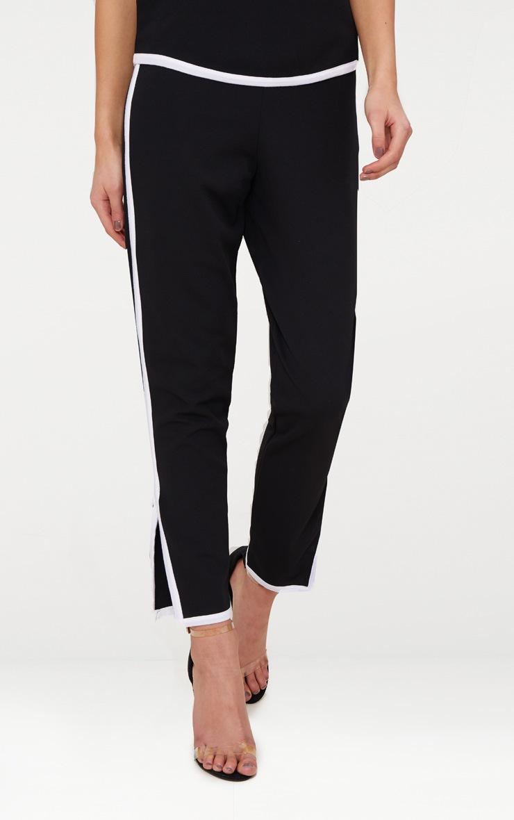 Black Contrast Binding Split Straight Leg Trousers  2