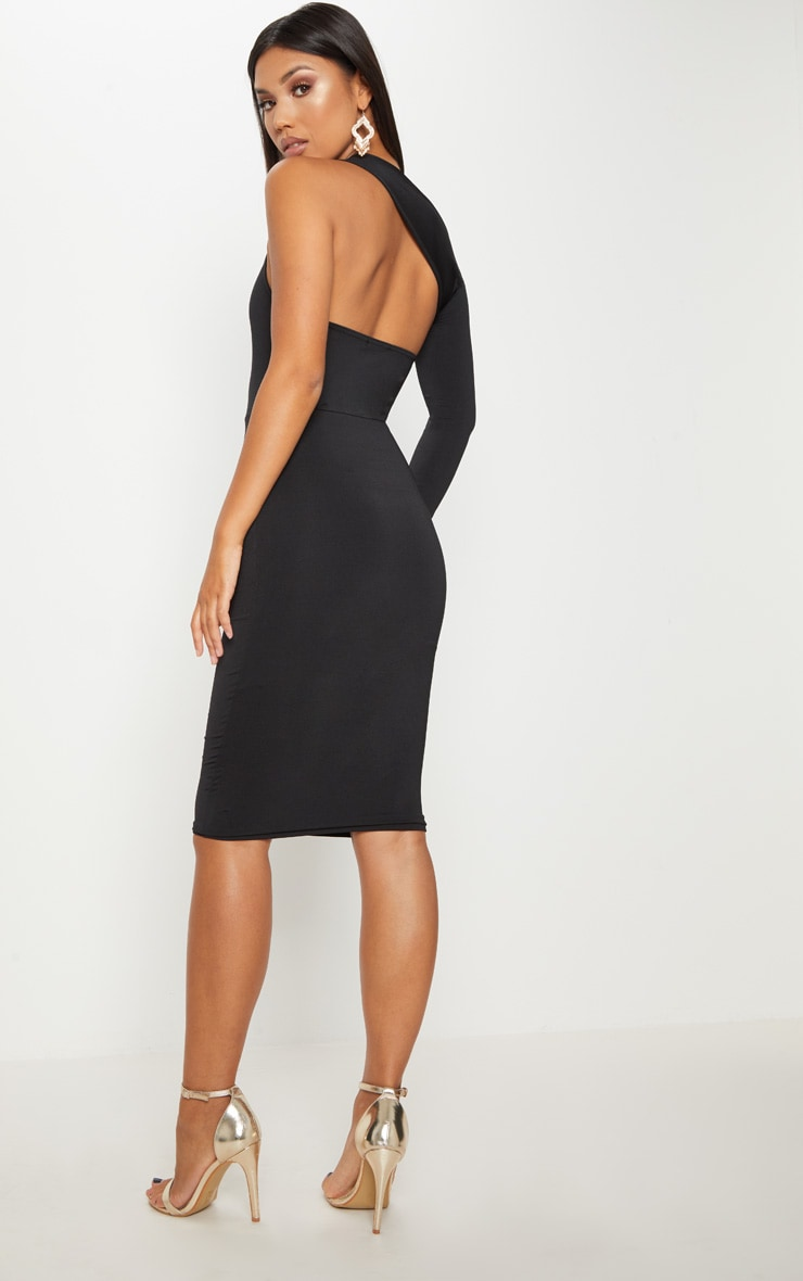 Black Disco Slinky One Shoulder Midi Dress 3