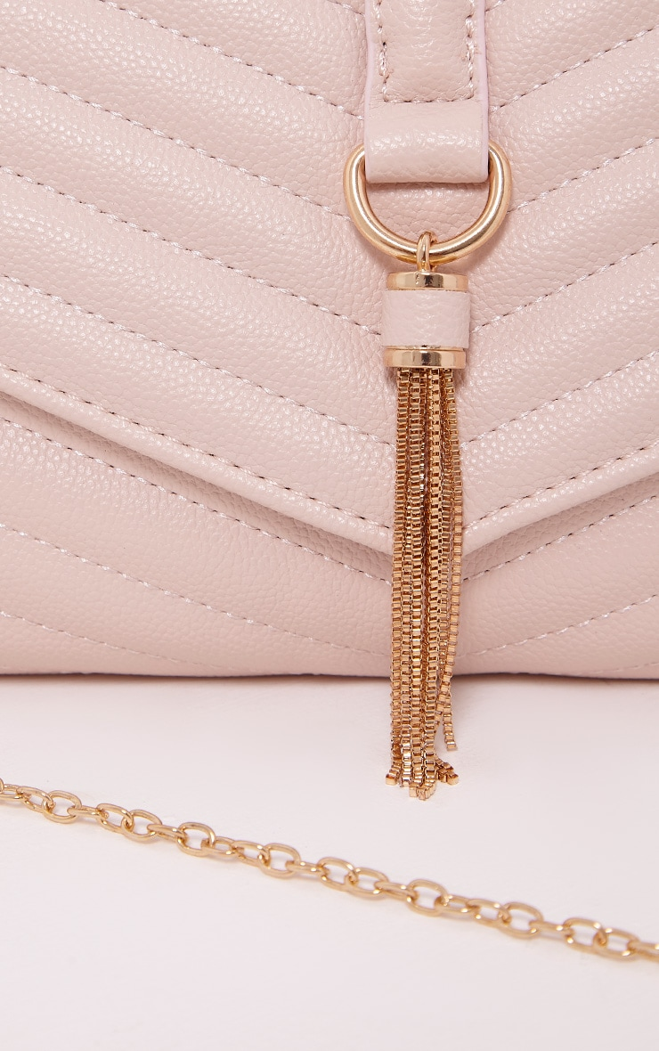 Vandra Nude Chain Tassel Detail Clutch Bag 6