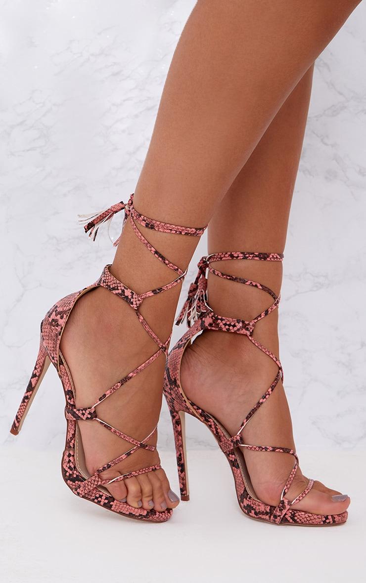 Pink Snake Print Tassel Lace Up Heels 1