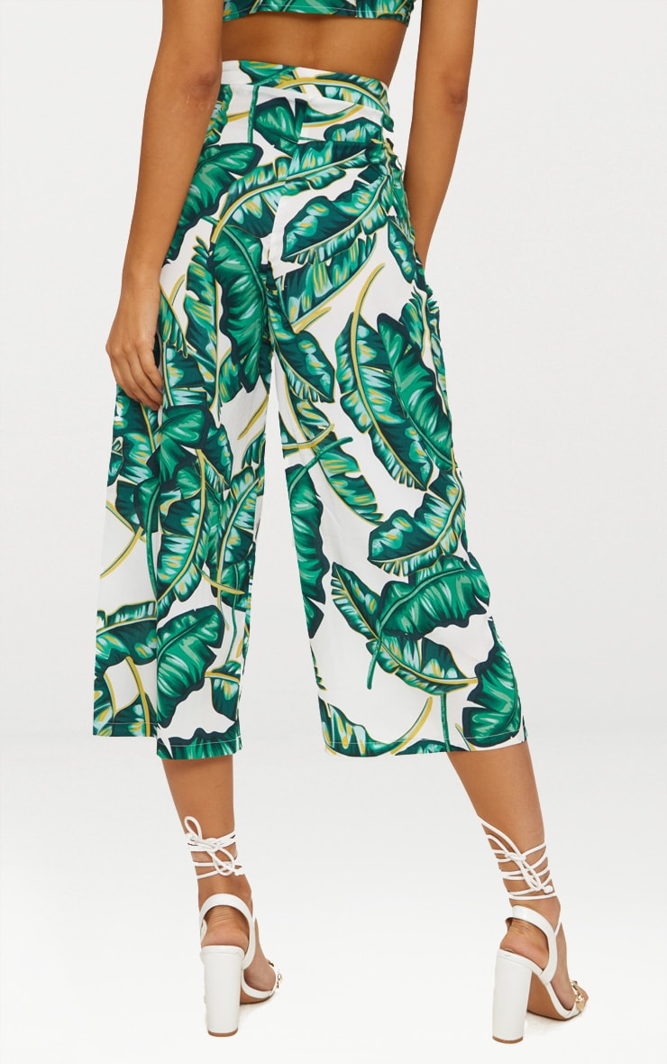 White Palm Print Culottes 3