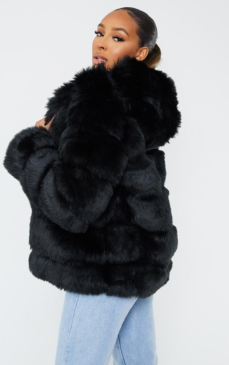 Black Premium Hooded Faux Fur Bubble Coat 2