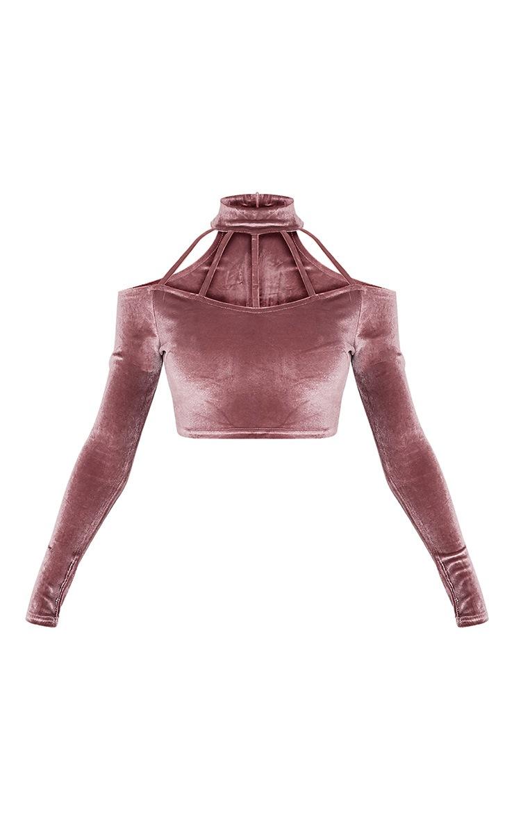Whitney Pink Velvet Cold Shoulder Choker Crop Top 3