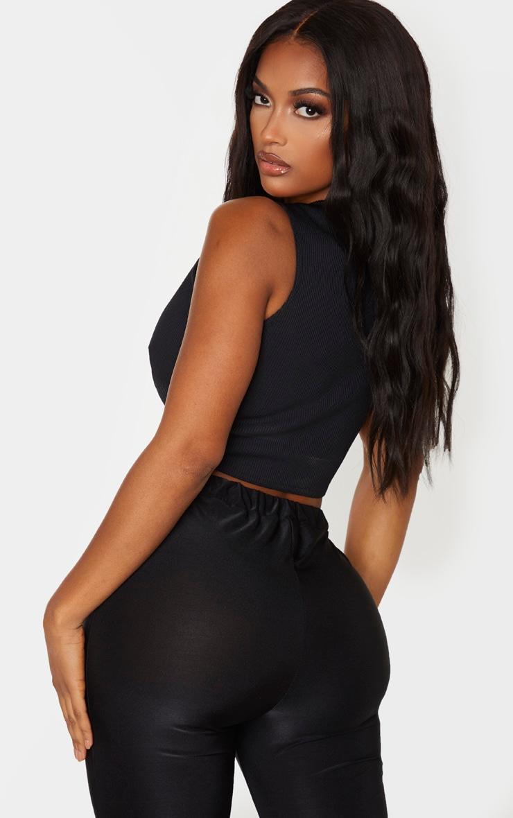 Shape - Crop top noir à ourlet incurvé et coutures apparentes 2