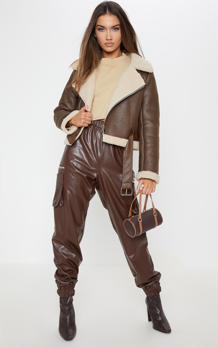Brown Contrast Faux Fur Cropped Aviator 4