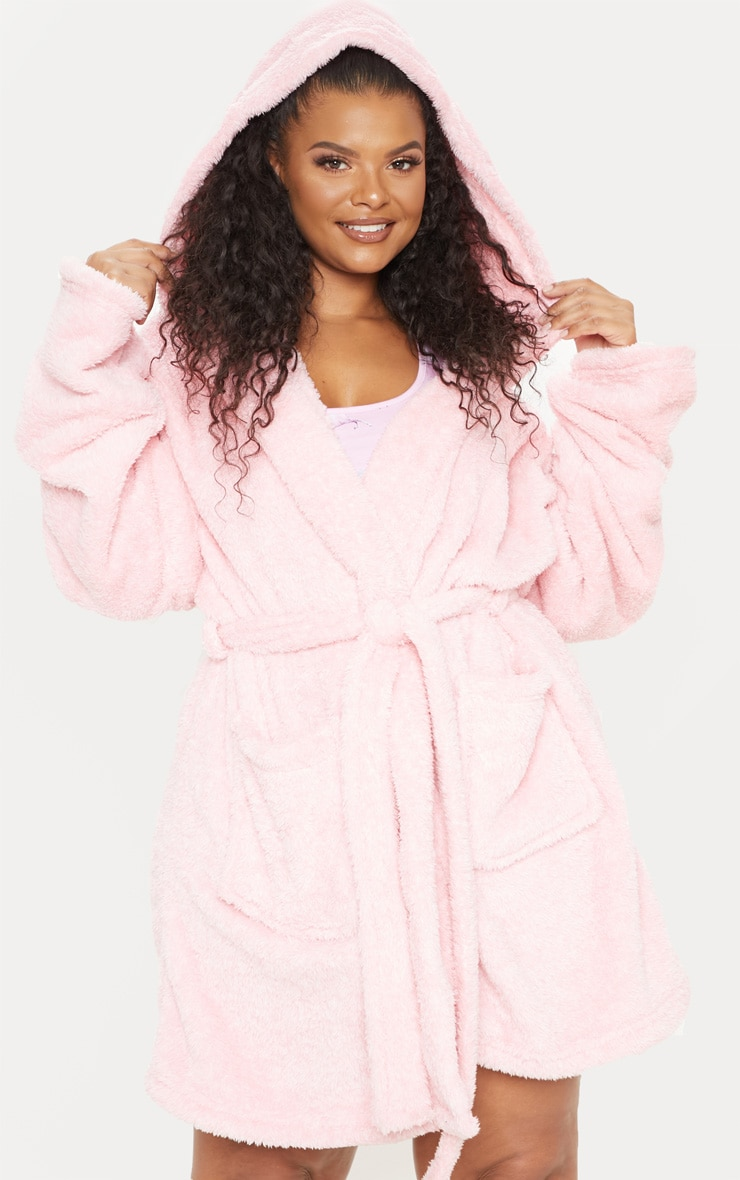 PRETTYLITTLETHING Plus Pink Fluffy Dressing Gown 5