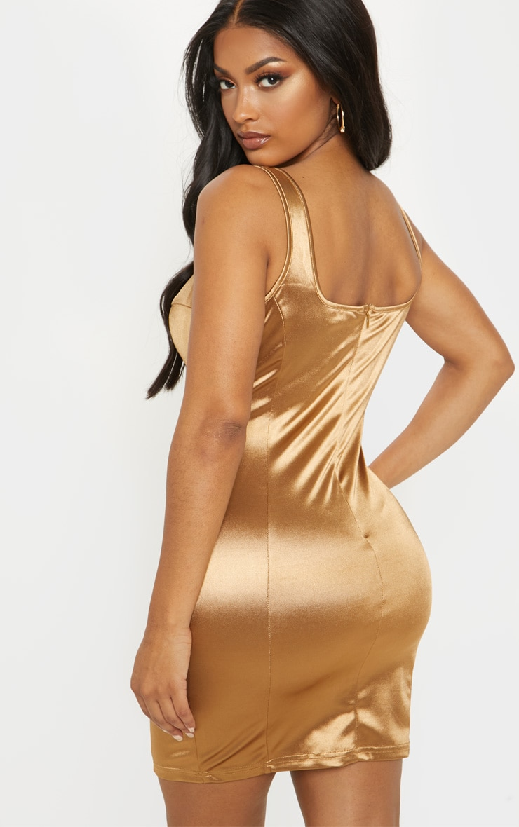 Shape Mocha Satin Bust Cup Seam Detail Bodycon Dress 2