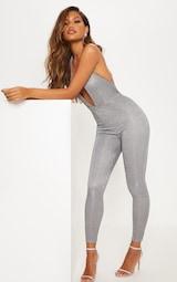 4ae33bc83dee Silver Glitter Halterneck Slim Leg Jumpsuit image 5