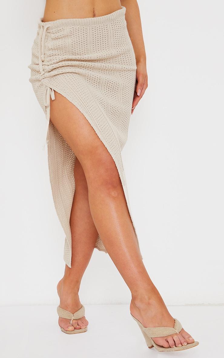 Cream Pointelle Tie Side Ruched Skirt 2