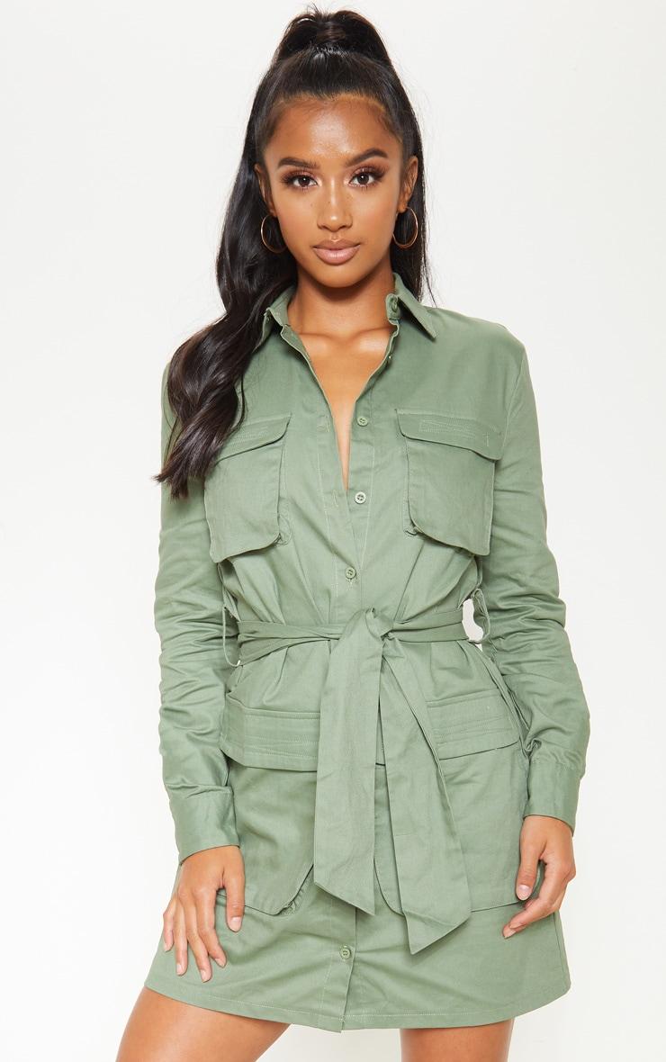 Petite Olive Khaki Utility Tie Waist Shirt Dress 4