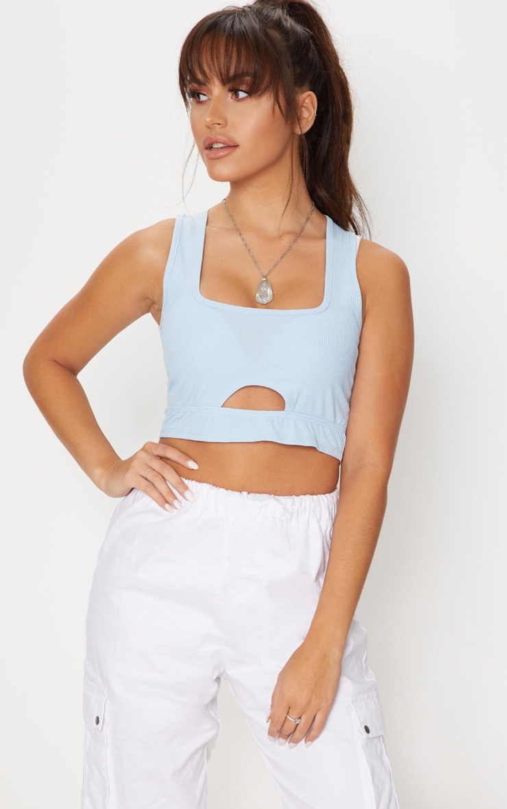 Baby Blue Rib Square Neck Crop Top 1