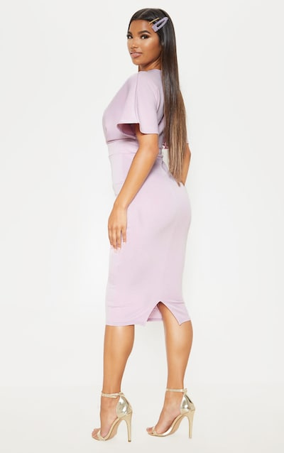 Lilac Batwing Pleated Midi Dress