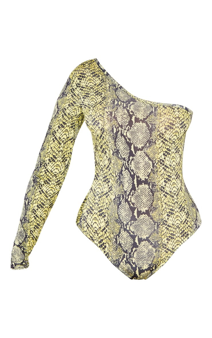 Yellow Slinky One Shoulder Snake Print Bodysuit 3