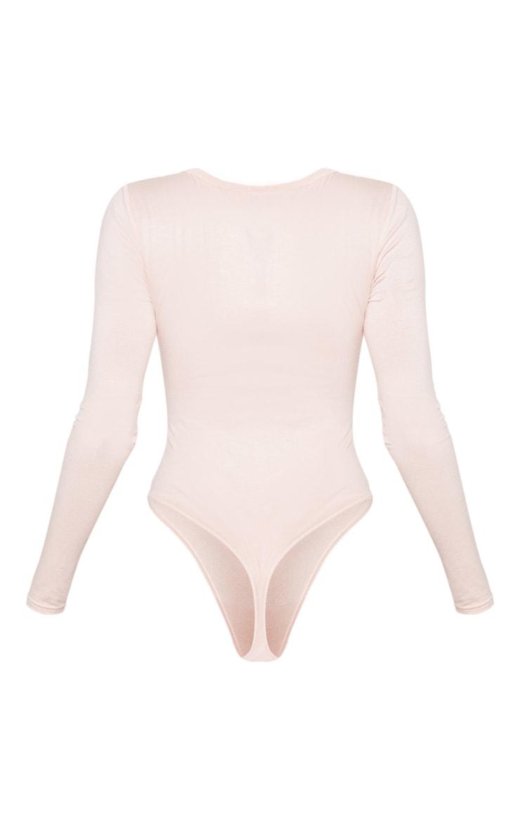 Basic Blush Plunge Long Sleeve Bodysuit 4