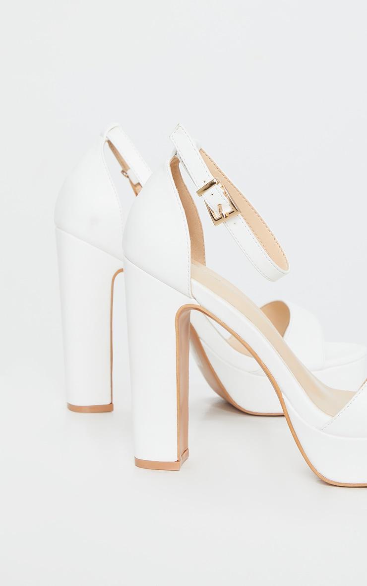 Taya White PU Platform Sandals 4