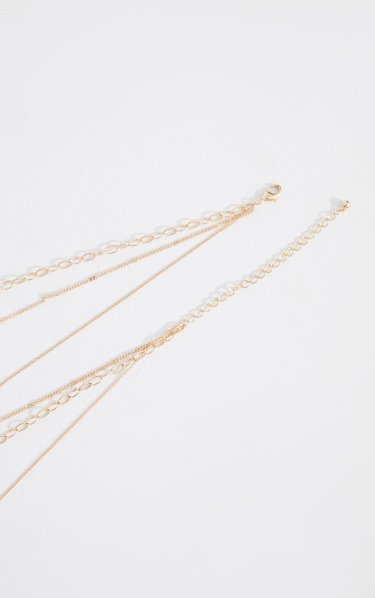Gold Assorted Chain Hammered Pendant Layering Necklace 4