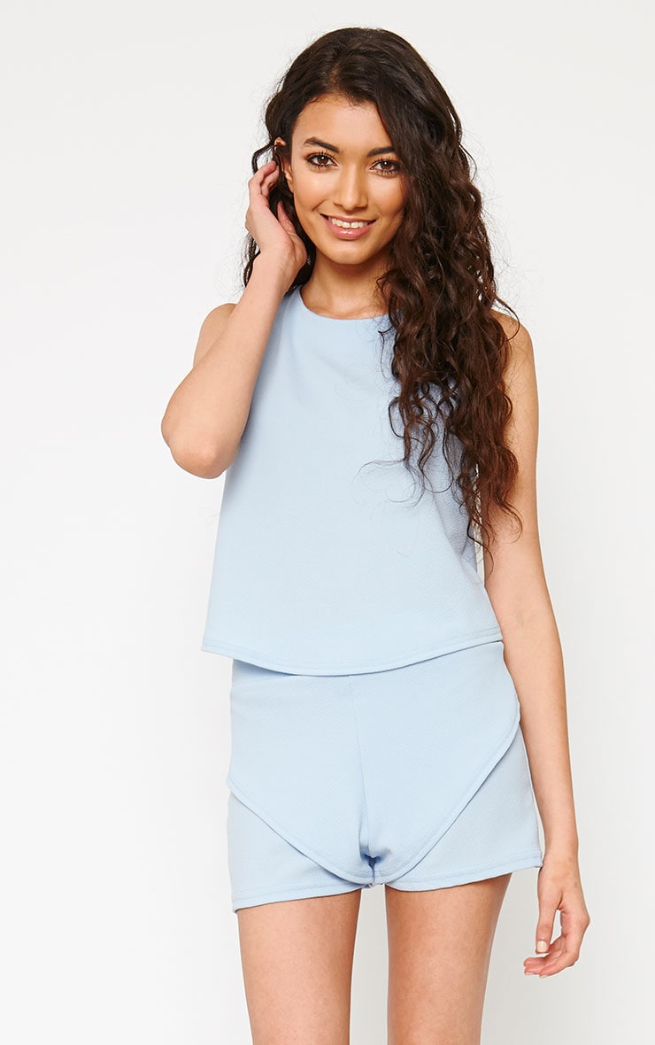 Devon Powder Blue Wrap Back Top 1
