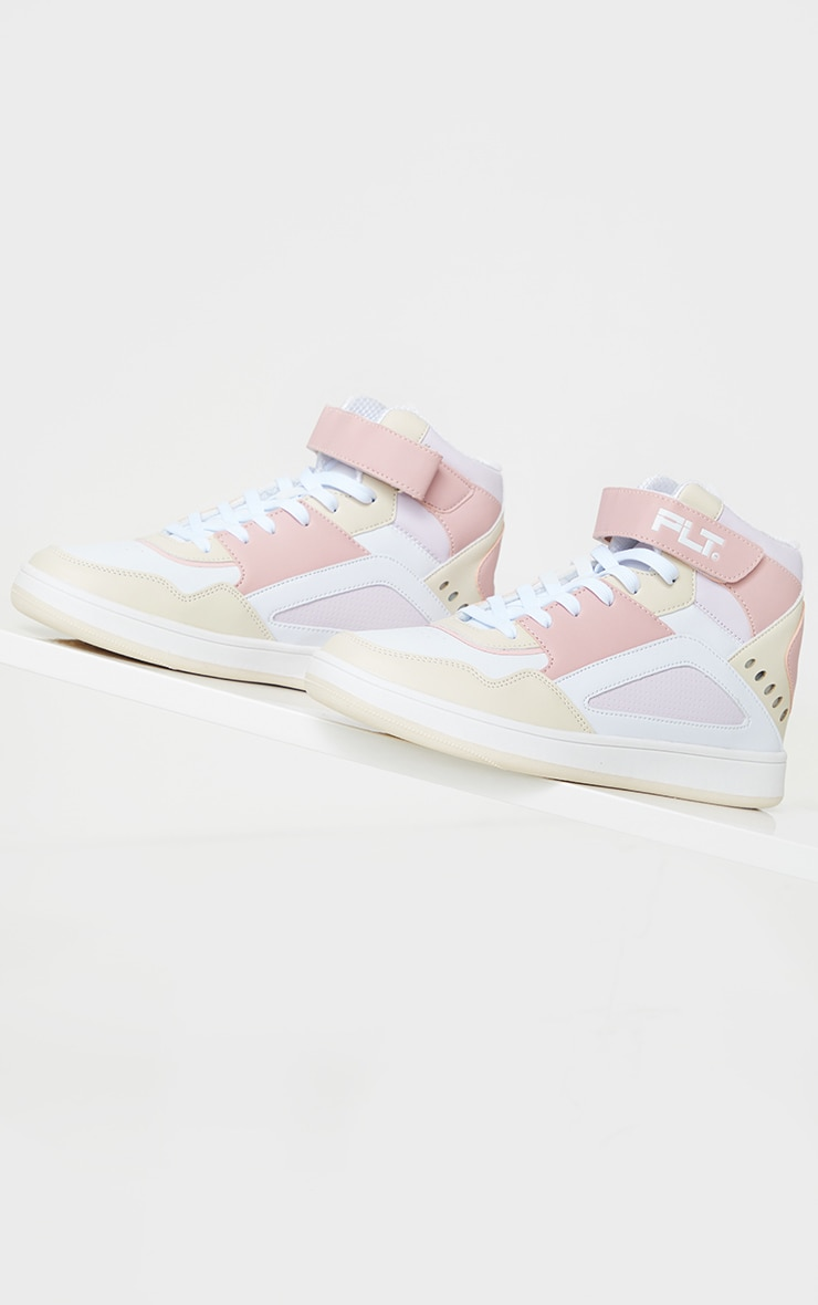 PRETTYLITTLETHING Pink Strap High Top Trainers 3