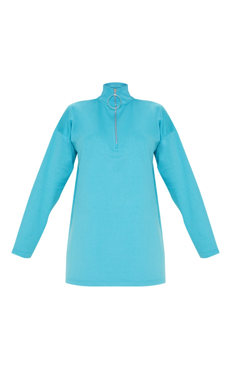 Bright Blue Ring Zip Front Jumper Dress 3