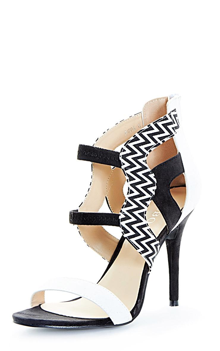 Coni Monochrome Aztec Contrast Suedette Heeled Sandal 3