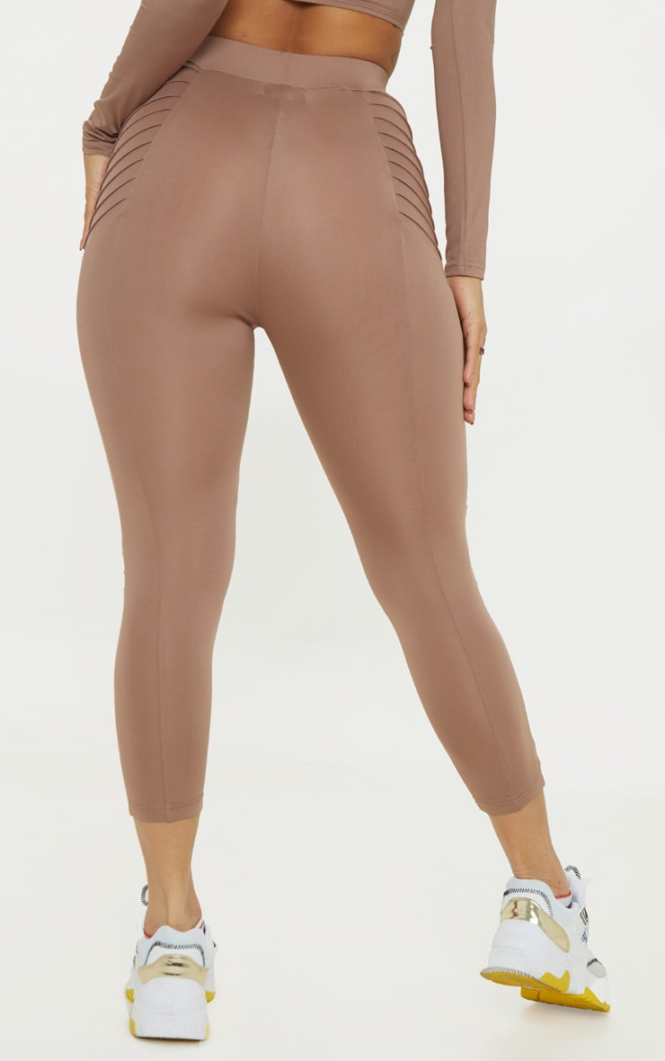 Mauve Ribbed Detail Gym Legging 4
