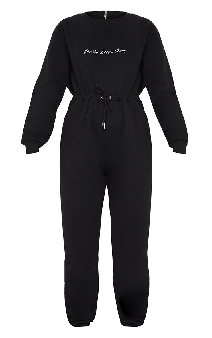 PRETTYLITTLETHING Black Embroidered Sweat Jumpsuit 5