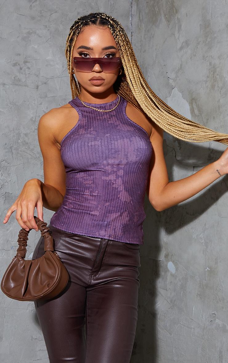 Purple Acid Wash Rib Racer Vest 1