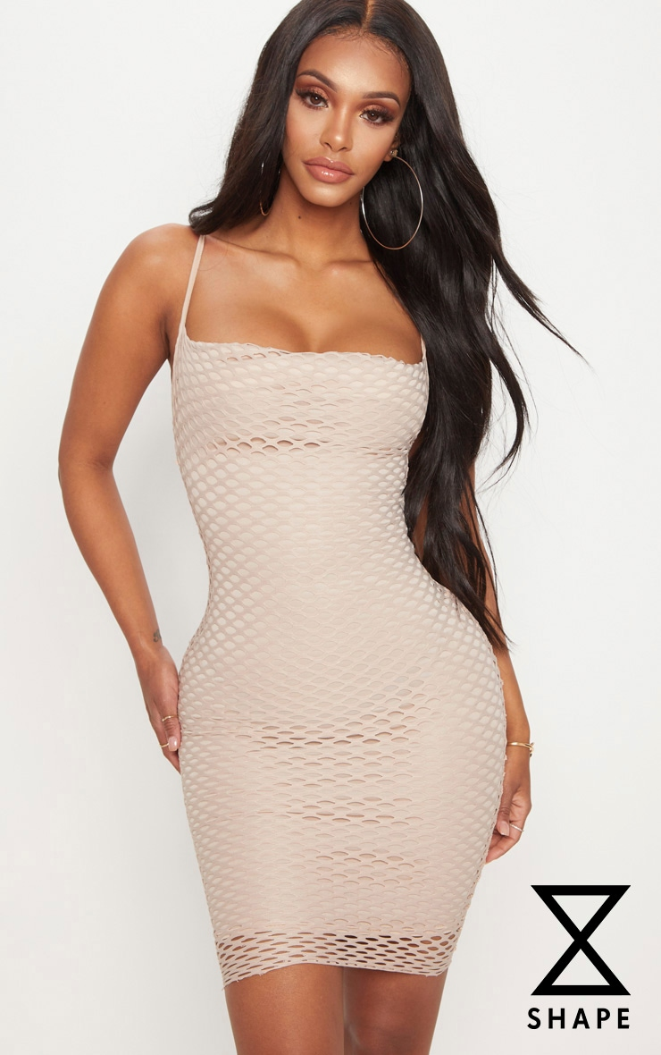 Shape Nude Fishnet Cowl Bodycon Dress