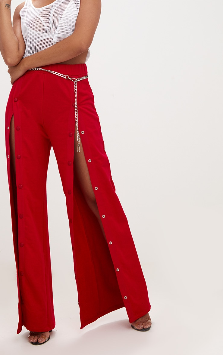 Red Front Popper Wide Leg Joggers 5