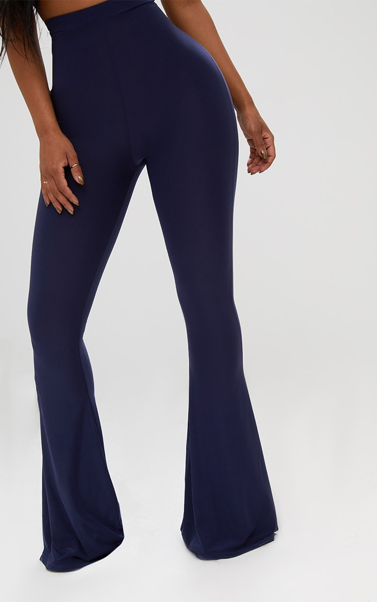 Shape Navy Slinky Flared Leg Trousers 5