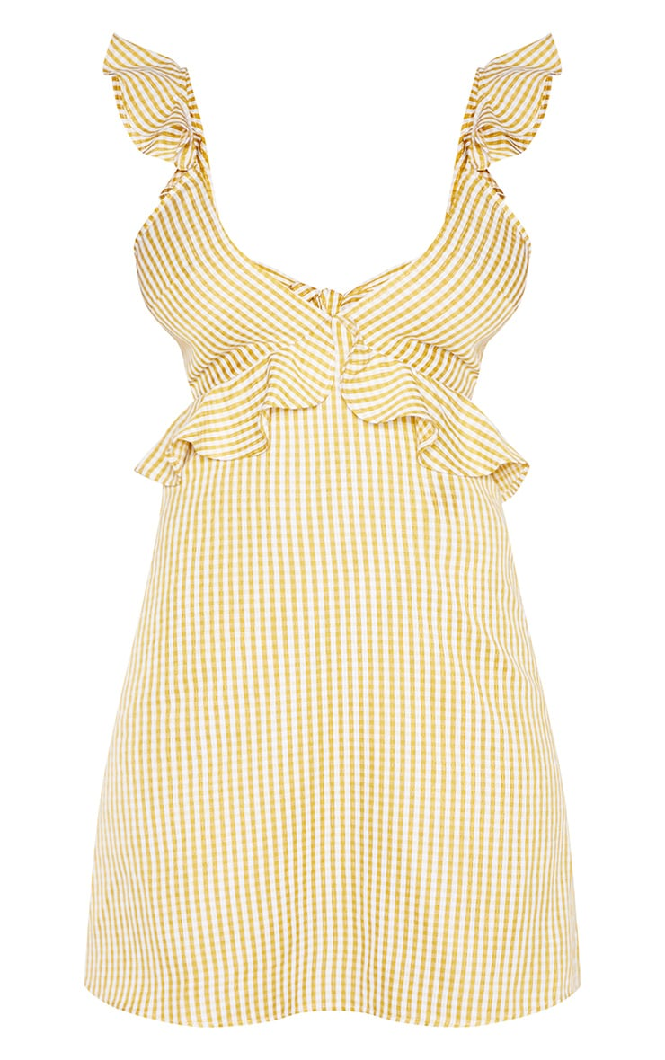 Tall Chartreuse Gingham Frill Detail Tie Back Dress 3