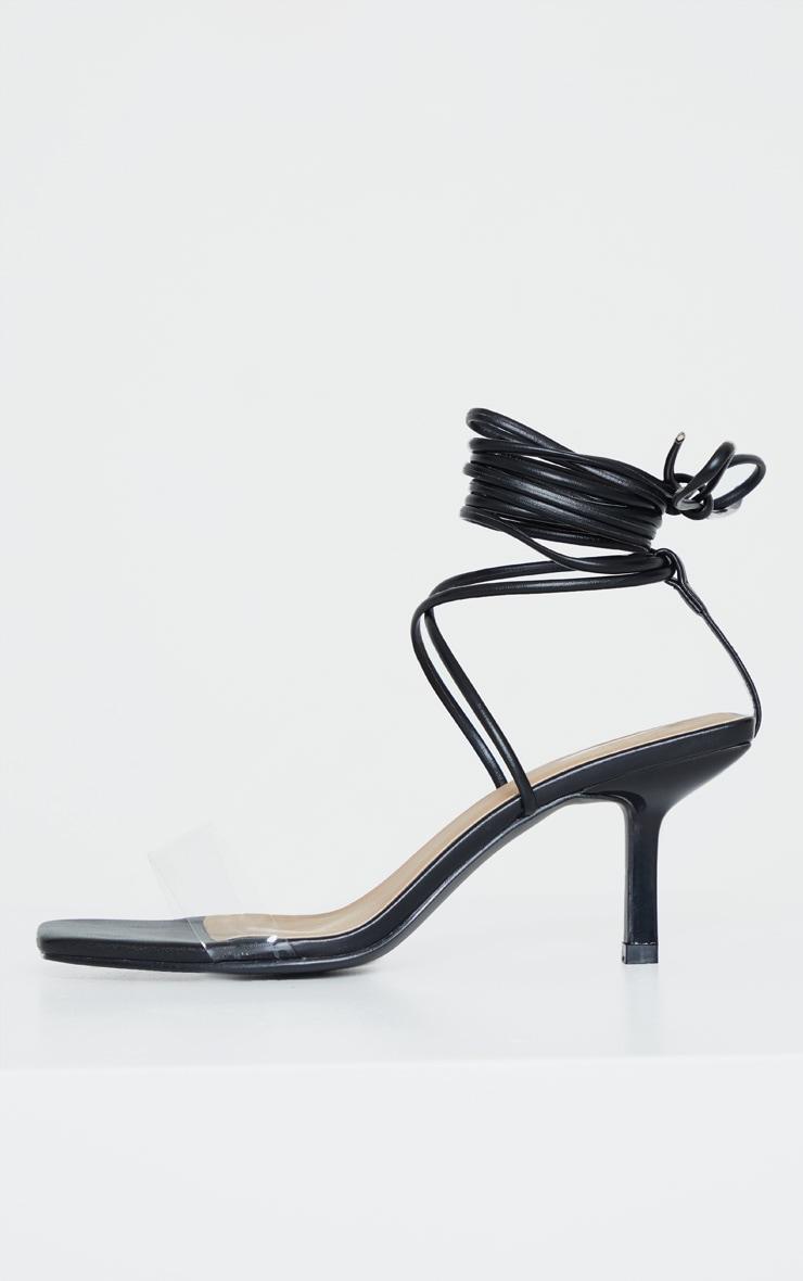 Black Low Heel Clear Strap Ankle Tie Sandal 3