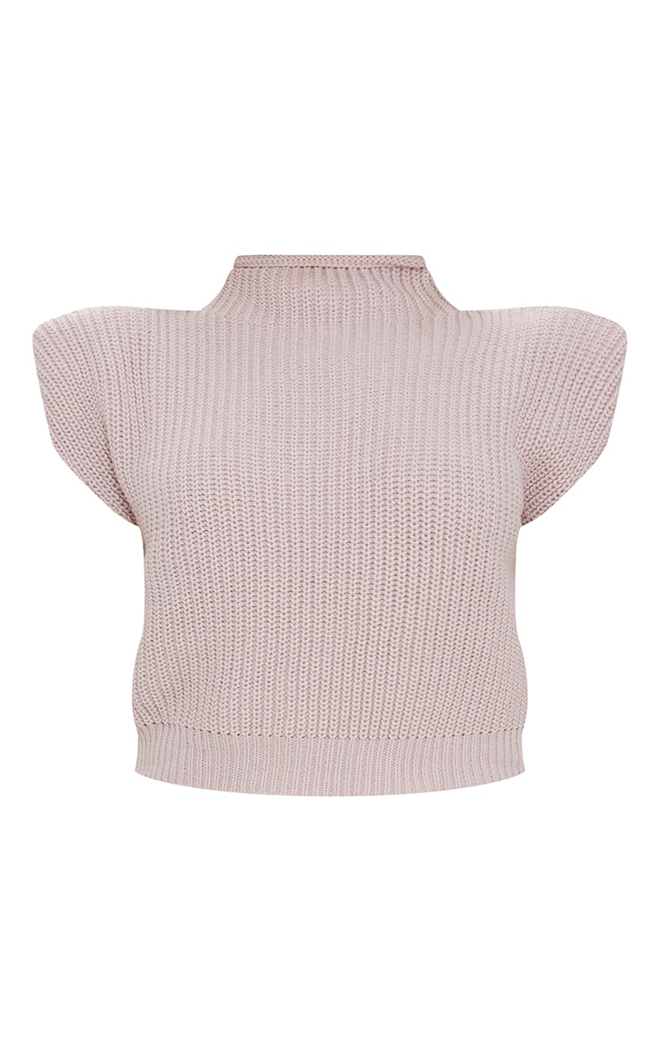 Petite Nude Shoulder Pad Knitted Sleeveless Sweater 5