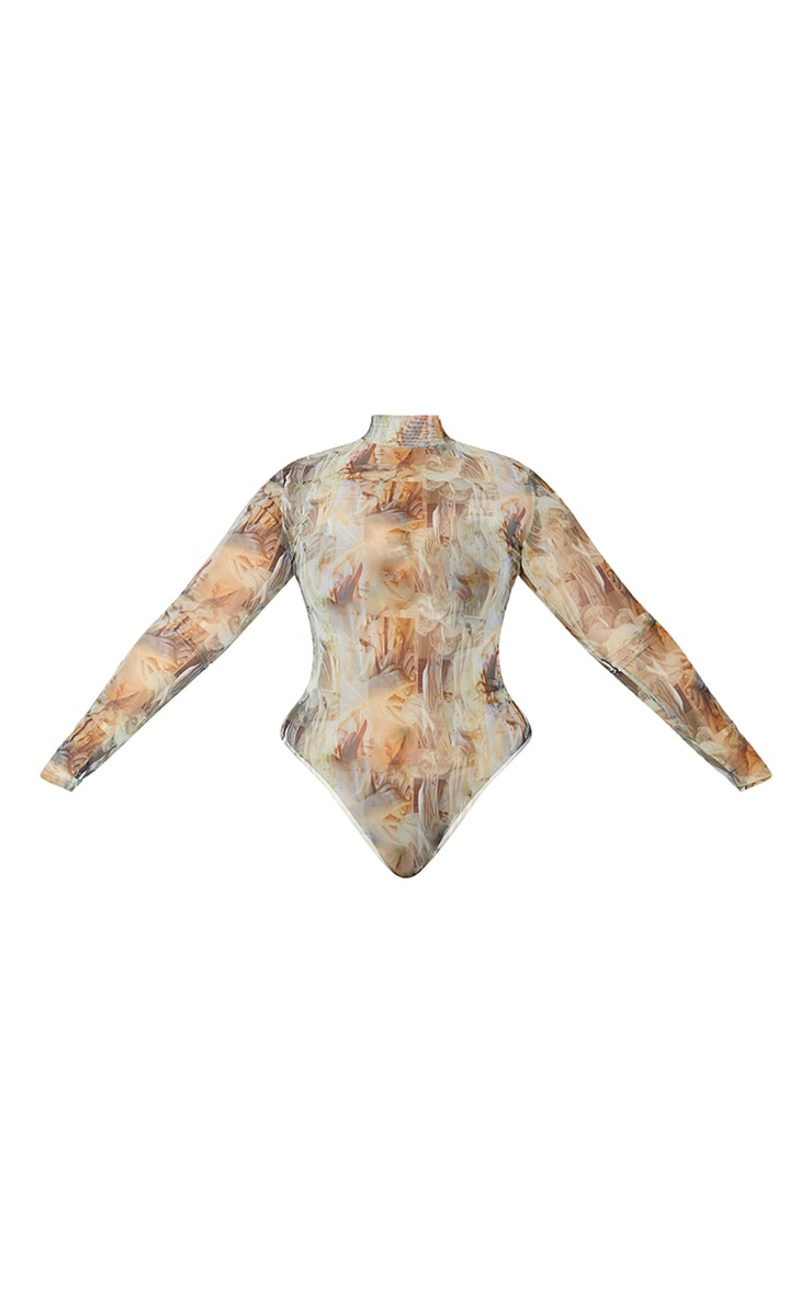 Plus Nude Statue Print High Neck Mesh Bodysuit 5