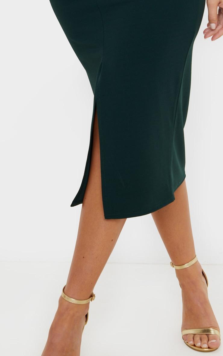Emerald Green Strappy Plunge Midi Dress 5