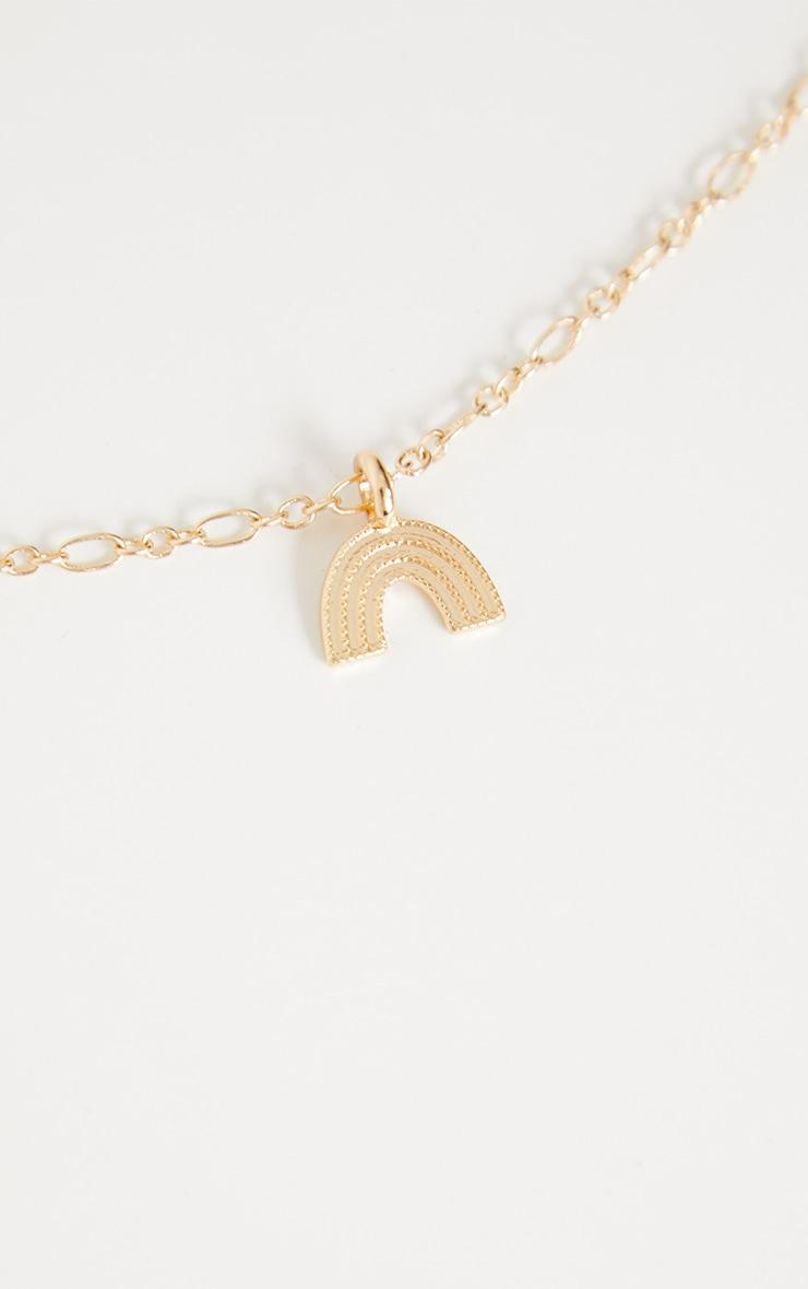 Gold Dainty Rainbow Necklace 4