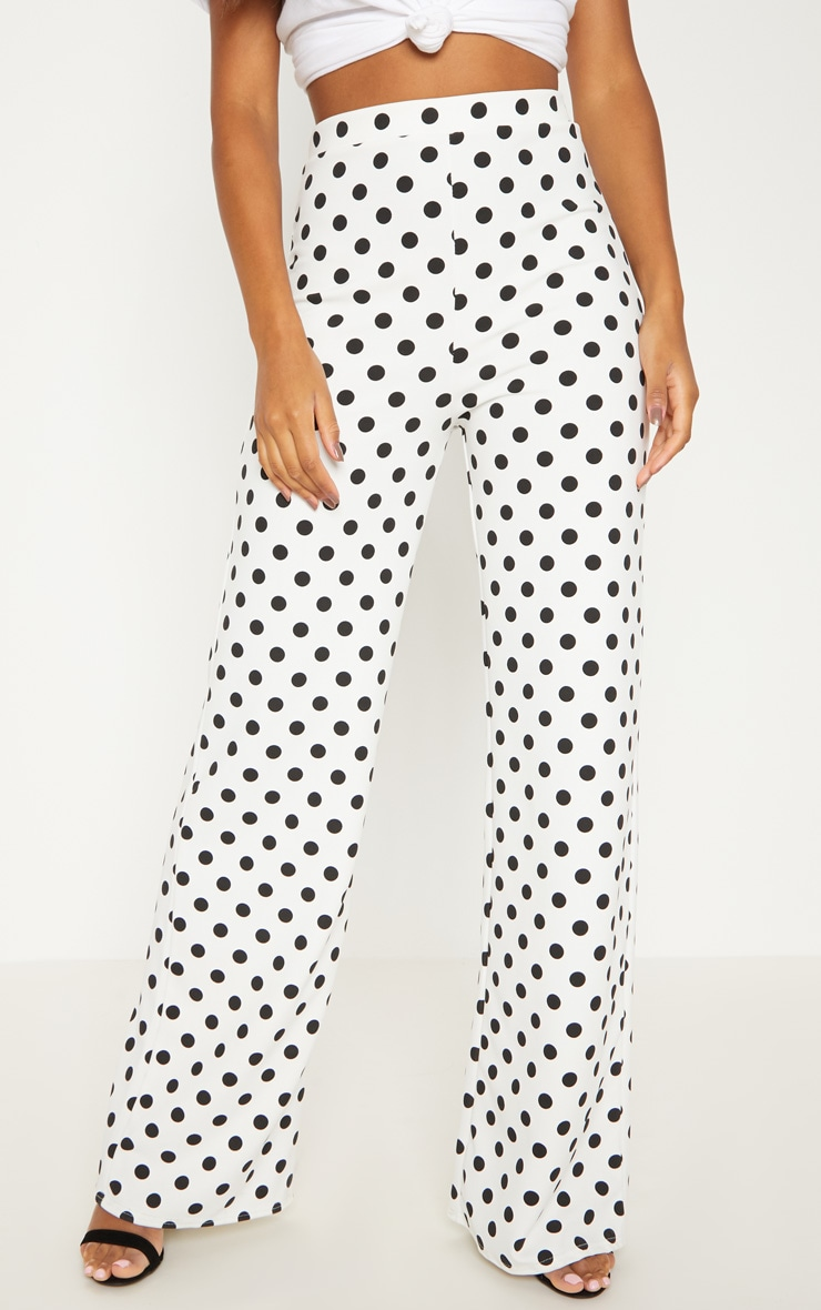White High Waisted Polka Dot Wide Leg Trouser  2