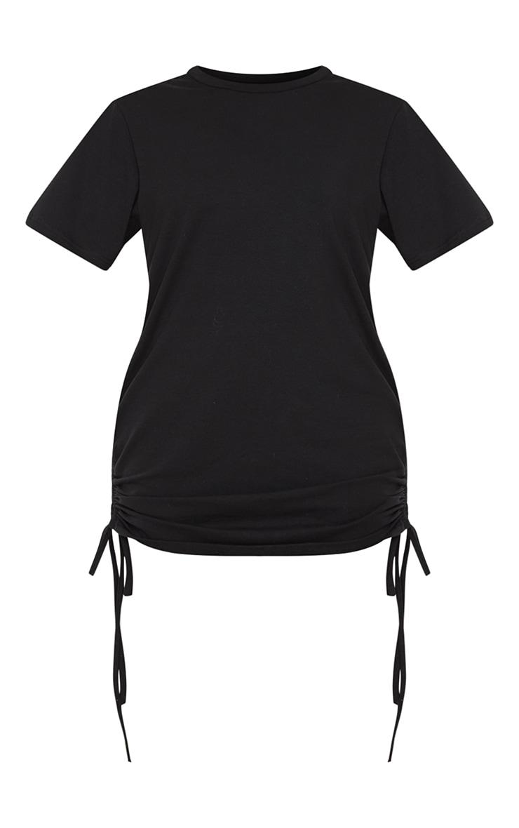 Black Cotton Ruched Side Short Sleeve T Shirt Dress 5