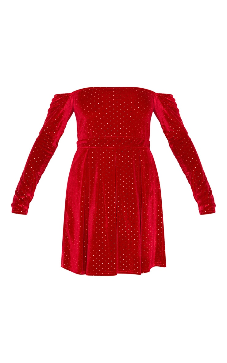 Red Velvet Studded Bardot Skater Dress 3