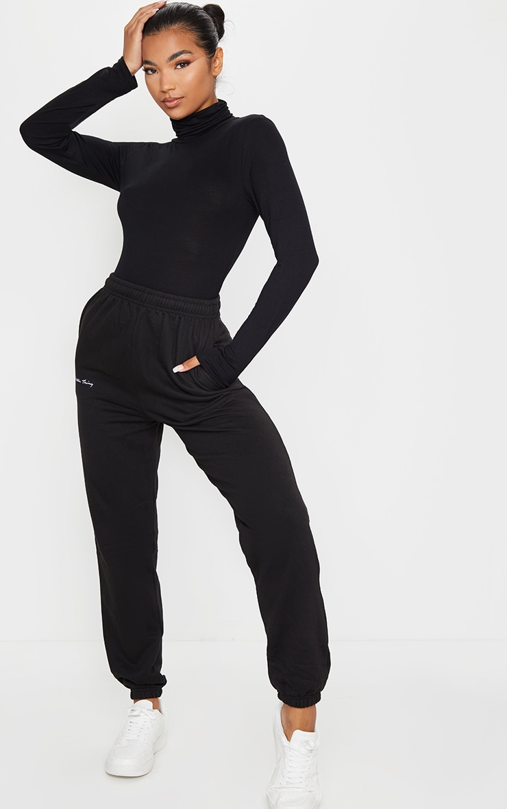 Essential Black & Grey Marl Cotton Blend Roll Neck Bodysuit 2 Pack 3