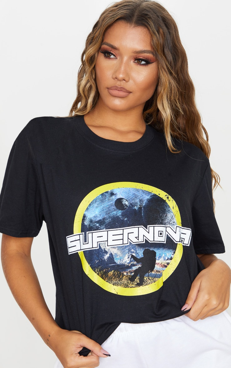 Black Supernova Print Oversized T Shirt 4