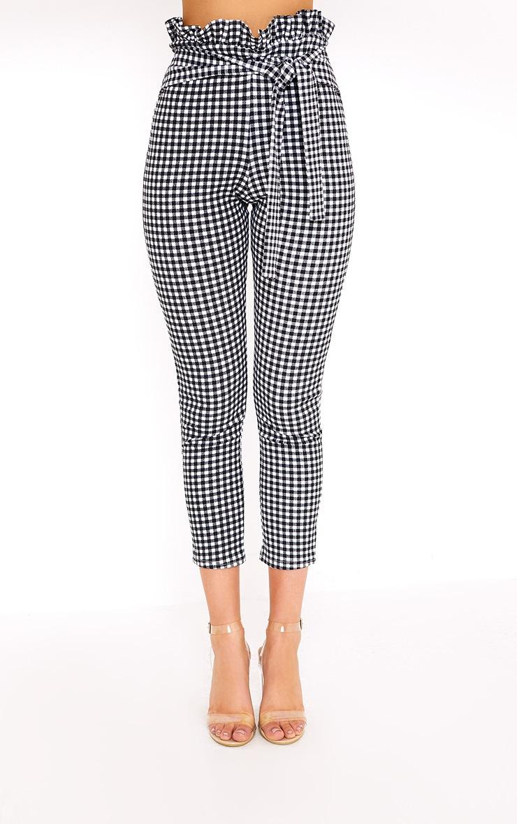 Perlita Black Gingham Paperbag Skinny Pants 2
