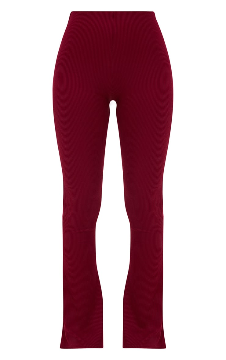 Burgundy Ribbed Flared Trousers 3